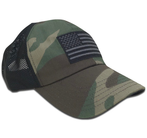 American Flag Vintage Truck Charcoal Snap Back - BALL CAP