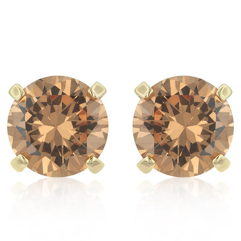 Simple Champagne CZ Studs