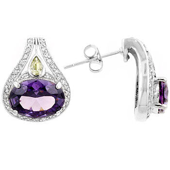 Majestic Amethyst - Elegant Earrings with Large Amethyst Center Stone, Pear Shaped Peridot, and Round Cut CZ