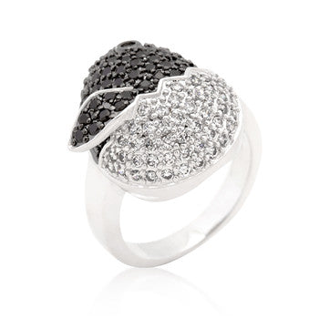 Black and White CZ Baby Chick Ring