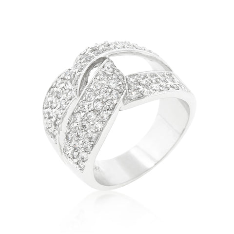Bold & Beautiful - Knotted Design Ring Embedded With Cubic Zirconia