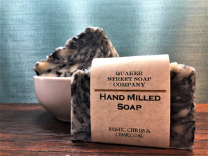Rustic Citrus and Charcoal Hand Milled Soap
