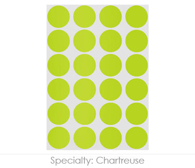"0.75"" Chartreuse Round Labels on Sheets"