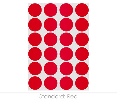 "0.75"" Red Round Labels on Sheets"