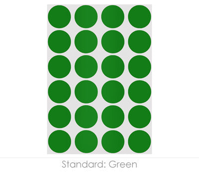 "0.75"" Green Round Labels on Sheets"