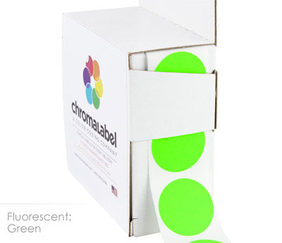 "1"" Neon Green Circle Labels"
