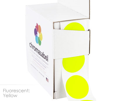 "1"" Neon Yellow Circle Labels"