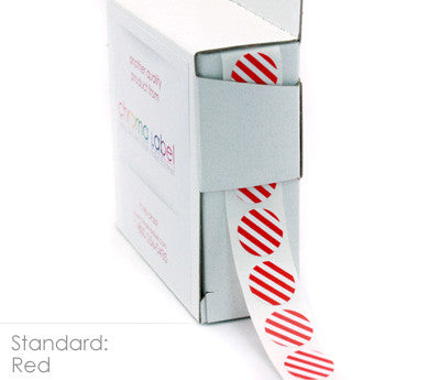 Ruby Red Striped Stickers in Dispenser Box