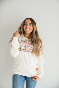 Ampersand Ave‰™ Pullover - Cream Floral