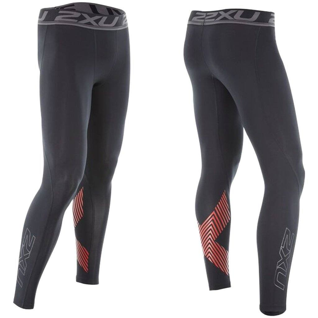 Compression Clothing - 2XU Accelerate Compression Tight Black/Arrow Stripe Flame Scarlet