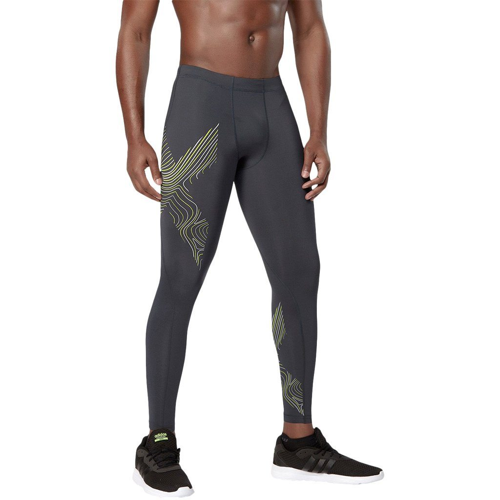 Compression Clothing - 2XU Hyoptik Compression Tights Steel / Luminescent