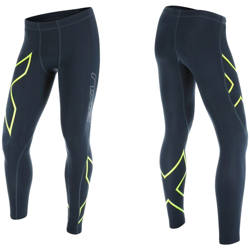 Compression Clothing - 2XU TR2 Compression Tights Ombre Blue / Gecko Glow