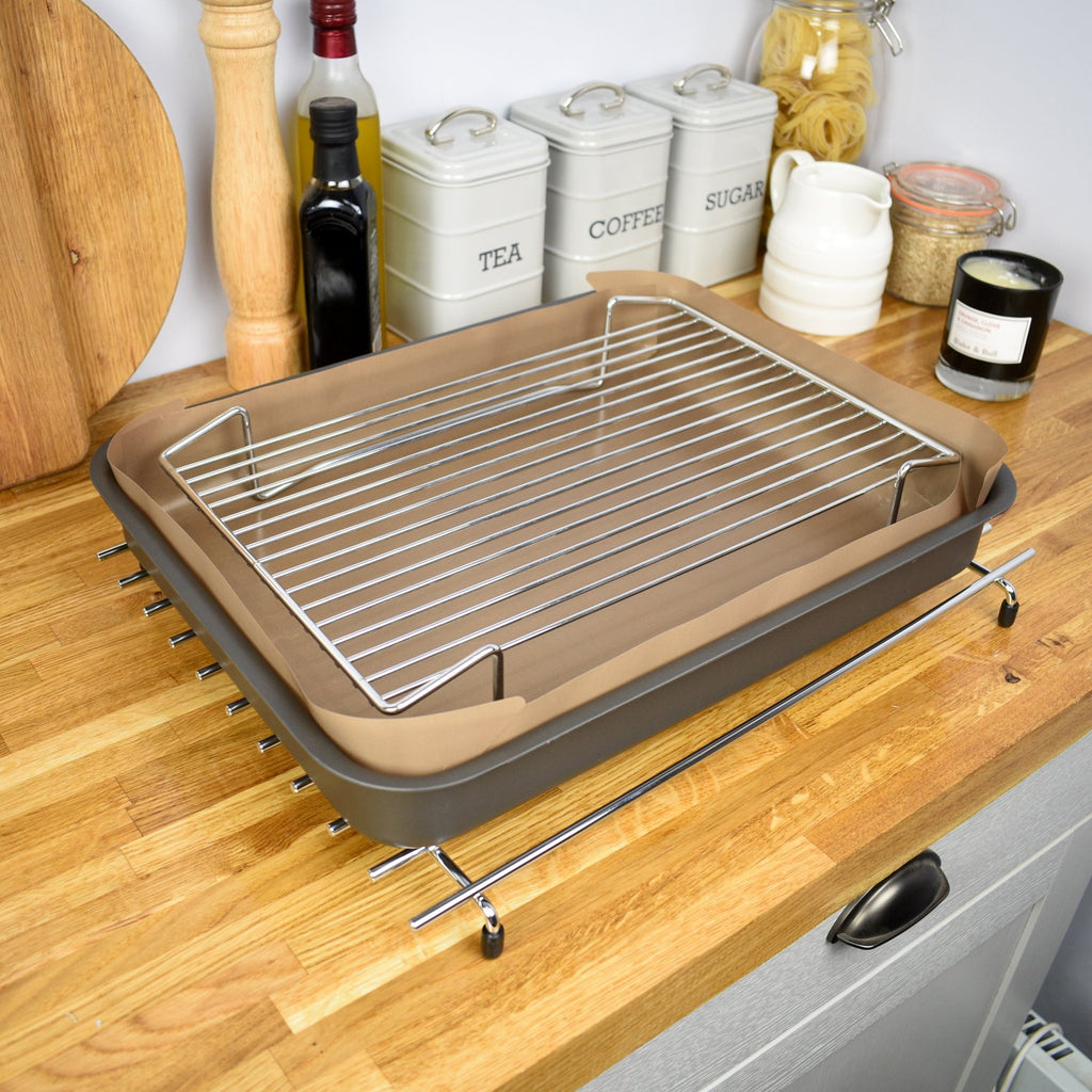 Large roasting rack for making a full english cooked breakfast and roast meat in an Aga range cooker