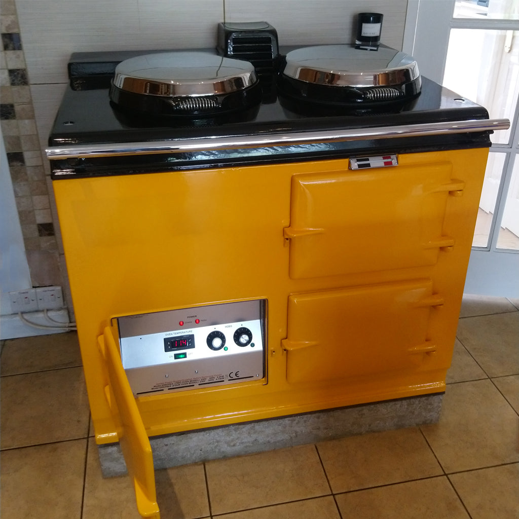 reconditioned electric converted Aga range cooker in golden yellow
