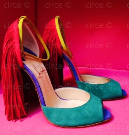* 2015 Christian Louboutin Otrot Suede Sandal with Fringe, Mint Multi @circegirls *