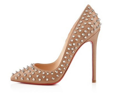 Christian Louboutin Pigalle 120 Spiked Pumps: Nude with Silver Spikes