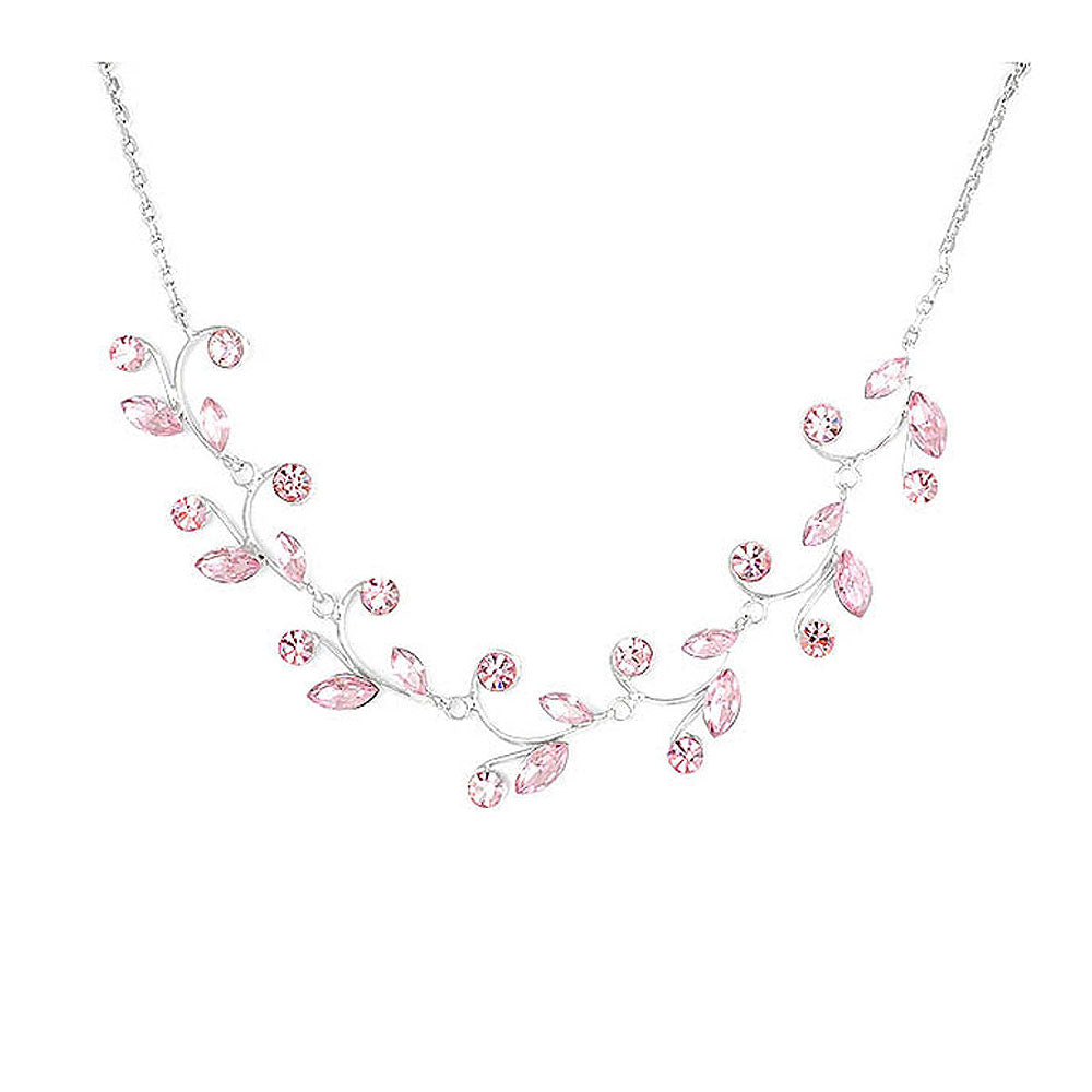 Pink Leaves Necklace with Pink Austrian Element Crystals