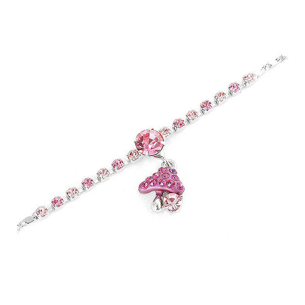 Fancy Bracelet with Mushroom Charm in Pink Austrian Element Crystals
