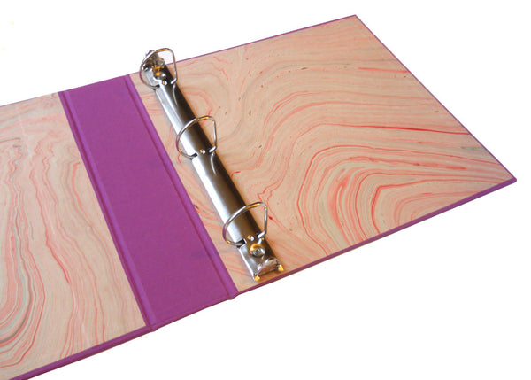 3 ring binder with custom marbled end papers