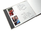 custom guestbook with slip in sleeves for instax mini photos and blank page for guests' notes and signatures