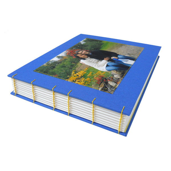 custom coptic bound guestbook with photo of couple on front