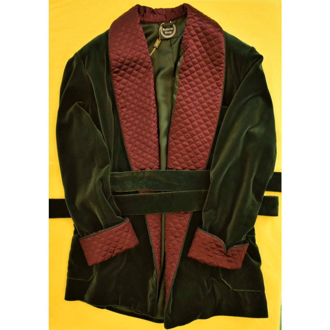 The Andover Shop Italian Hunter Green Velvet Smoking Jacket w/ Burgundy Trapunto Shawl Collar Sz: XL""