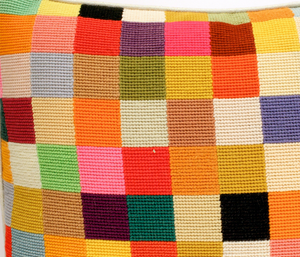 Patchwork Pastel Needlepoint Pillow