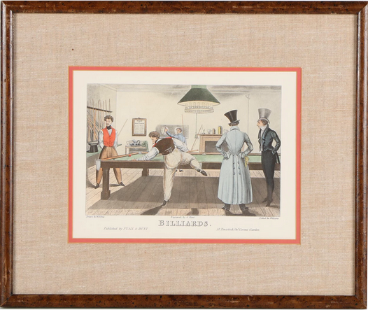 "Hand-Colored Halftone After William Henry Pyne ""Billiards"""