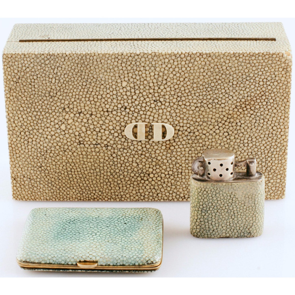 Shagreen DD Cigarette Case/Lighter/& Compact