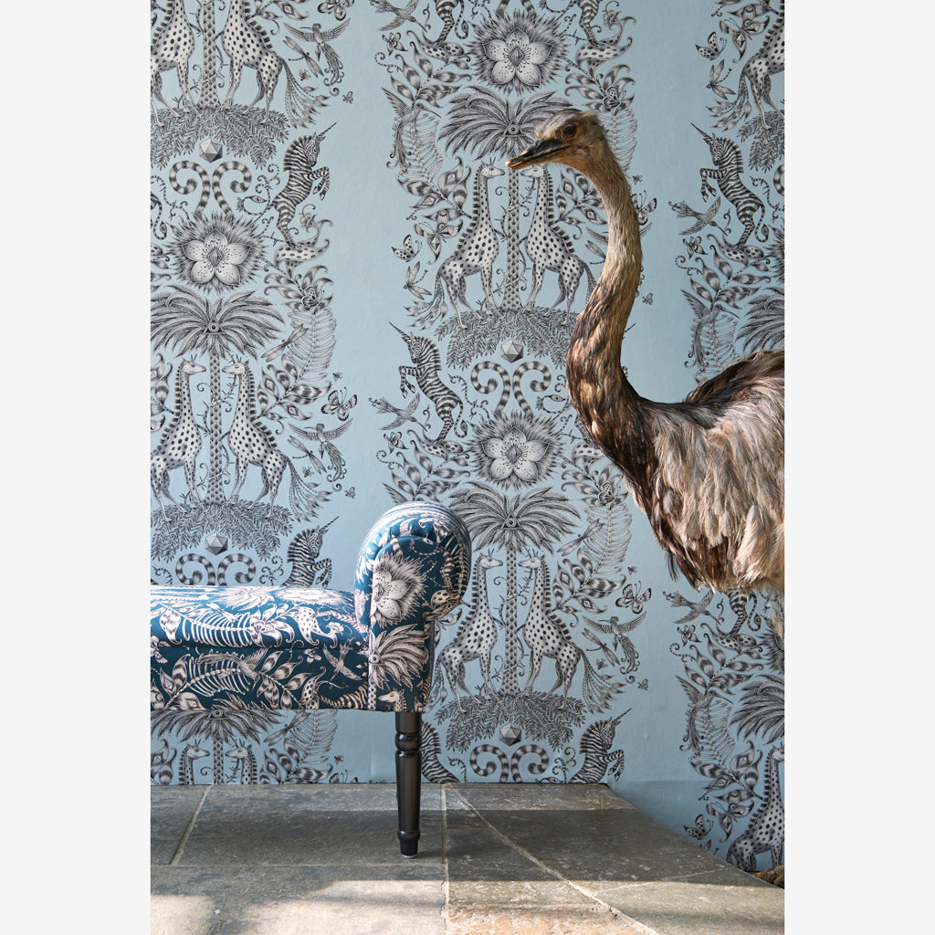 The mystical and captivating Kruger Wallpaper in our campaign imagery, designed by Emma J Shipley x Clarke & Clarke