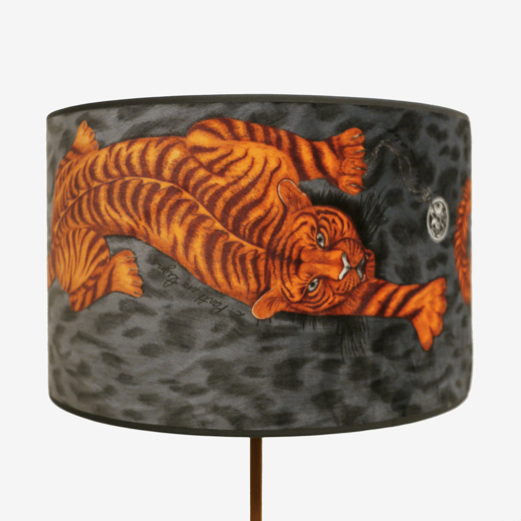 Charcoal grey velvet statement lampshade with exotic details