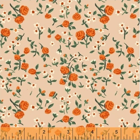 Trixie - Mousies Floral in Peach - Heather Ross for Windham - 50898-7 - Half Yard