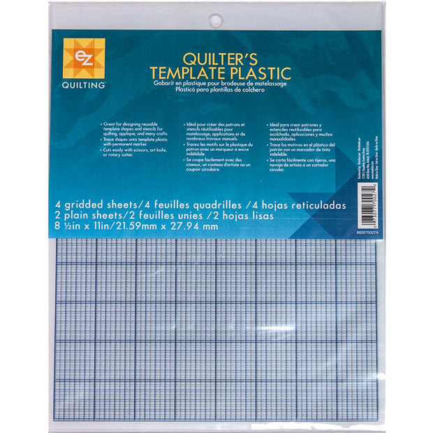 "Quilter's Template Plastic - (6) 8.5"" x 11"" sheets - 882670027AEZ"