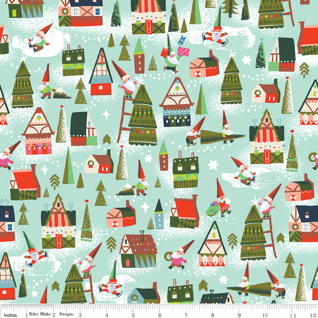 Way Up North - Houses in Mint - Jill Howarth for Riley Blake - C7321-MINT - Half Yard