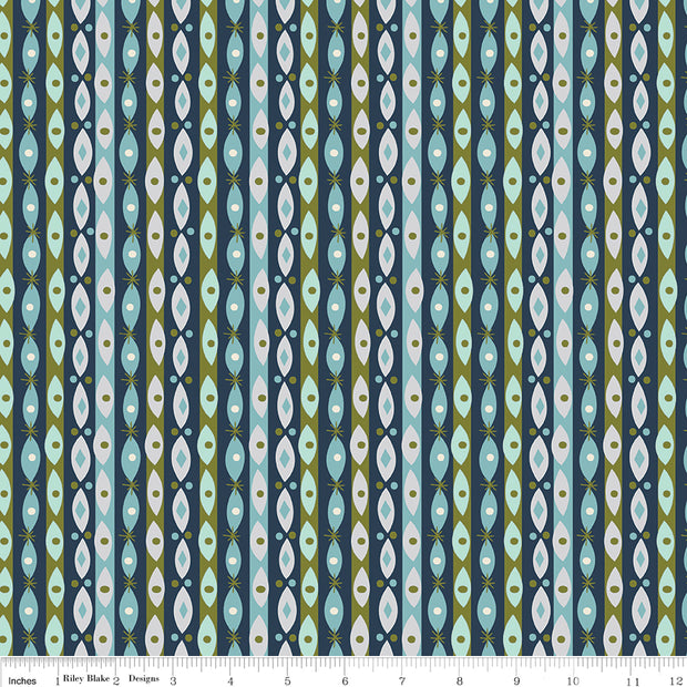 Way Up North - Stripe in Navy - Jill Howarth for Riley Blake - C7325-NAVY - Half Yard