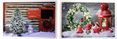2 Assorted Christmas LED Canvas Wall Plaques Fibre Optic