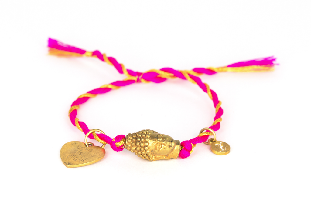 """Love is a light"" gold Buddha/ heart and pink-gold"