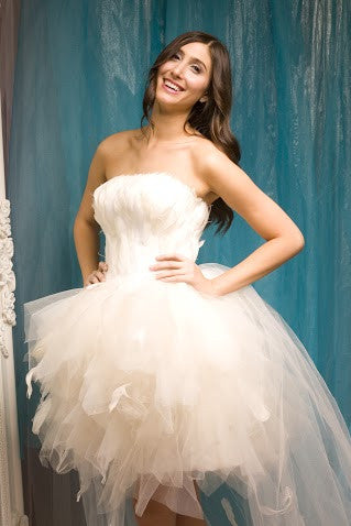 Glamorous Wedding Dress with Feather Bodice and Tulle Skirt