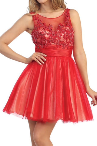 Élysée Illusion Party Dress in Red