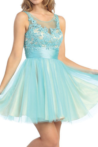 Élysée Illusion Party Dress in Turquoise