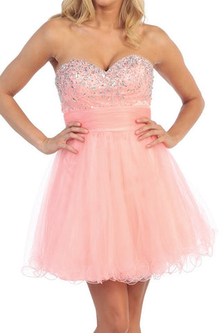 Chandelier Shimmer Party Dress in Peach
