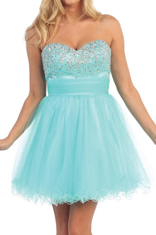 Chandelier Shimmer Party Dress in Aqua