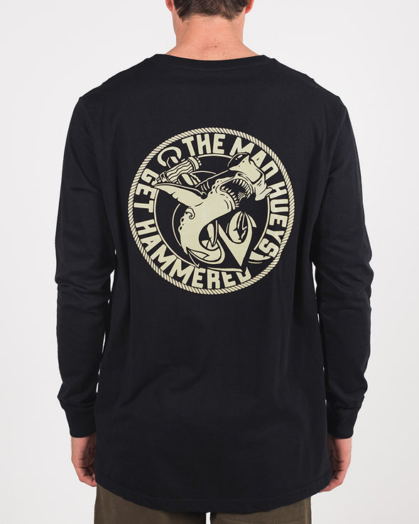 GET HAMMERED LONG SLEEVE TEE - BLACK
