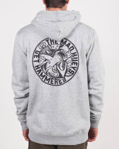 GET HAMMERED ZIP THRU HOOD - GREY MARLE