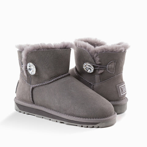 'NEW GENERATION' UGG LADIES CLASSIC MINI BOOTS WITH SWAROVSKI BUTTON
