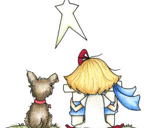 Sweet little girl and her adorable puppy dog with gift for baby Jesus illustration
