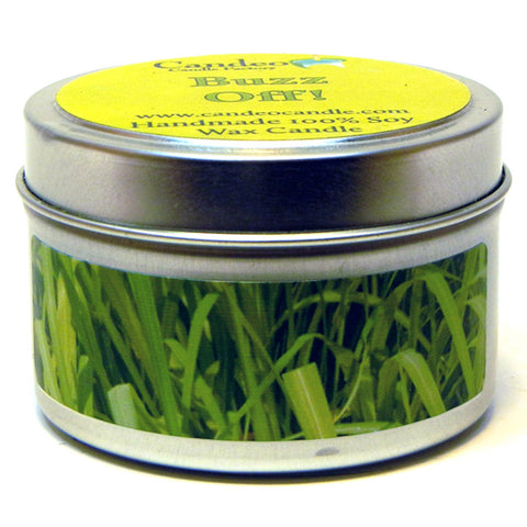 Buzz Off Essential Oil Blend, 4oz Soy Candle Tin - Candeo Candle