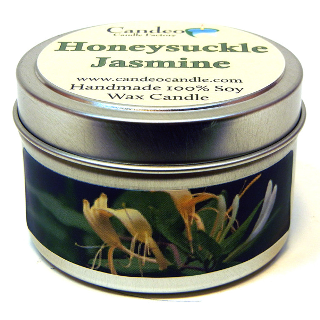 Honeysuckle Jasmine, 4oz Soy Candle Tin - Candeo Candle - 1