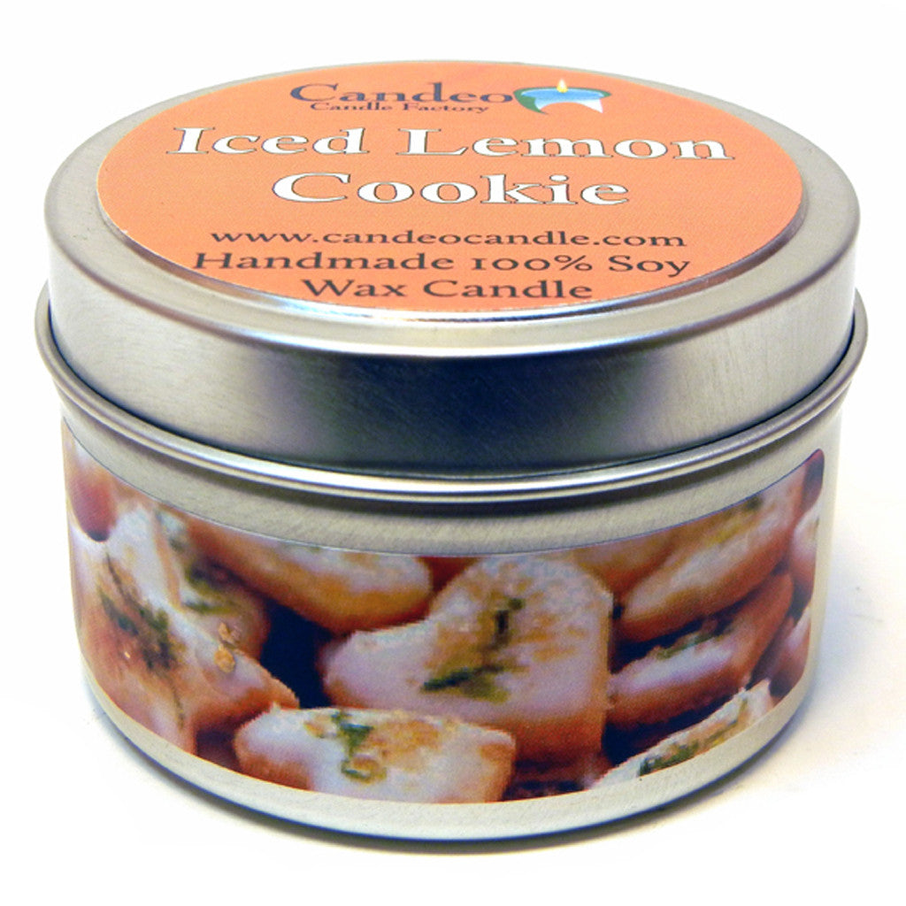 Iced Lemon Cookie, 4oz Soy Candle Tin - Candeo Candle - 1