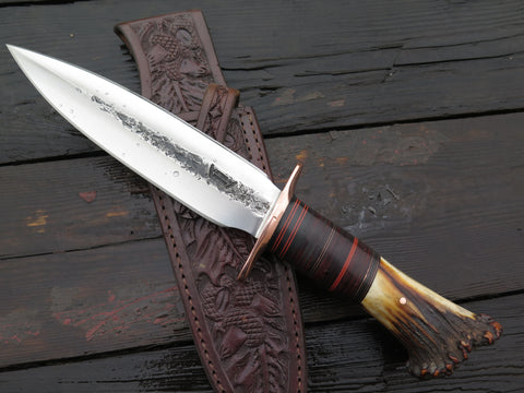 Premium Crown Stag & Horserhide Double Edge Fighter